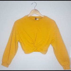 Mustard Yellow Crew Neck Knot Crop Top